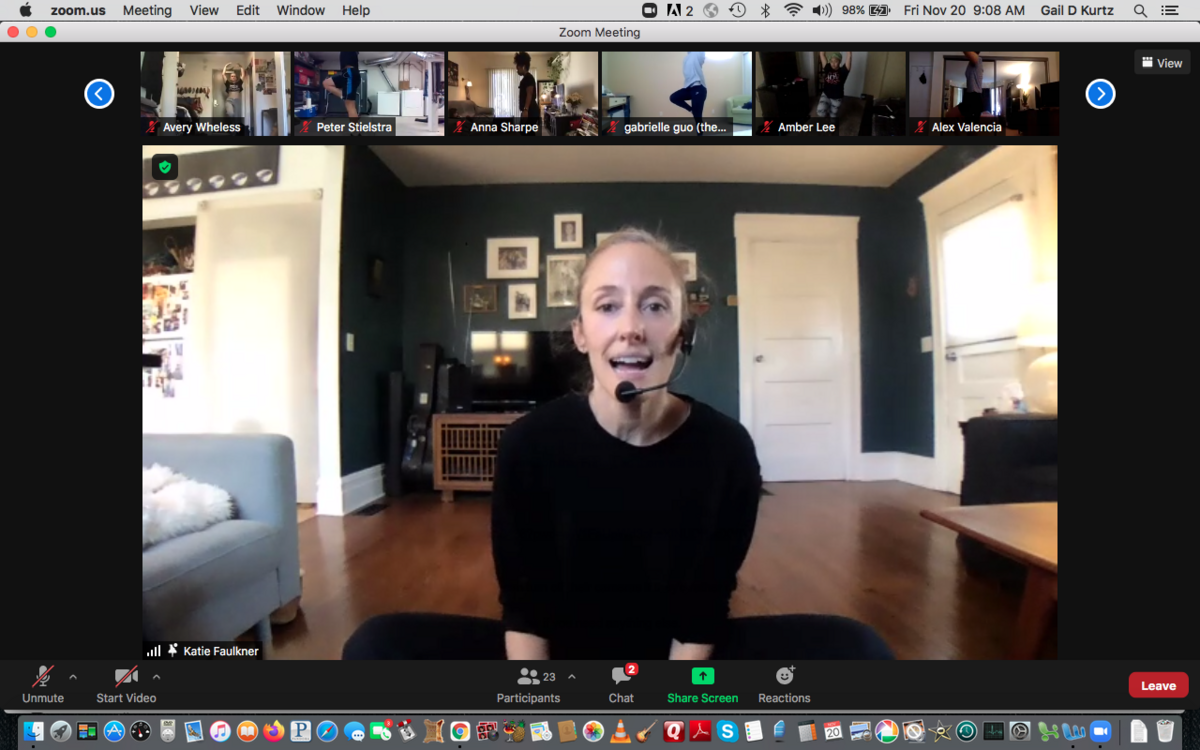 Screen grab of dance instructor on Zoom, with class attendees along the top of the screen
