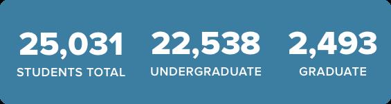 25,031 Students total | 22,538 Undergraduate | 2,493 Graduate