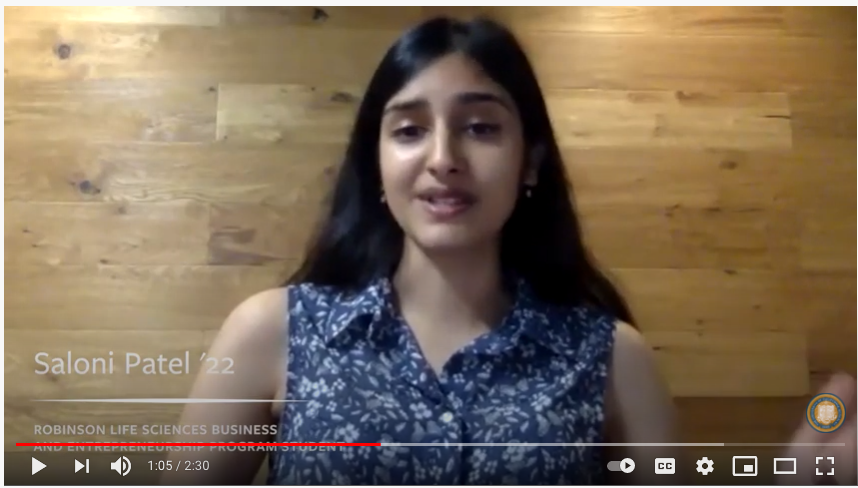 "Screen grab of Saloni Patel from ""Robinson gift supports biotech ecosystem"" video"