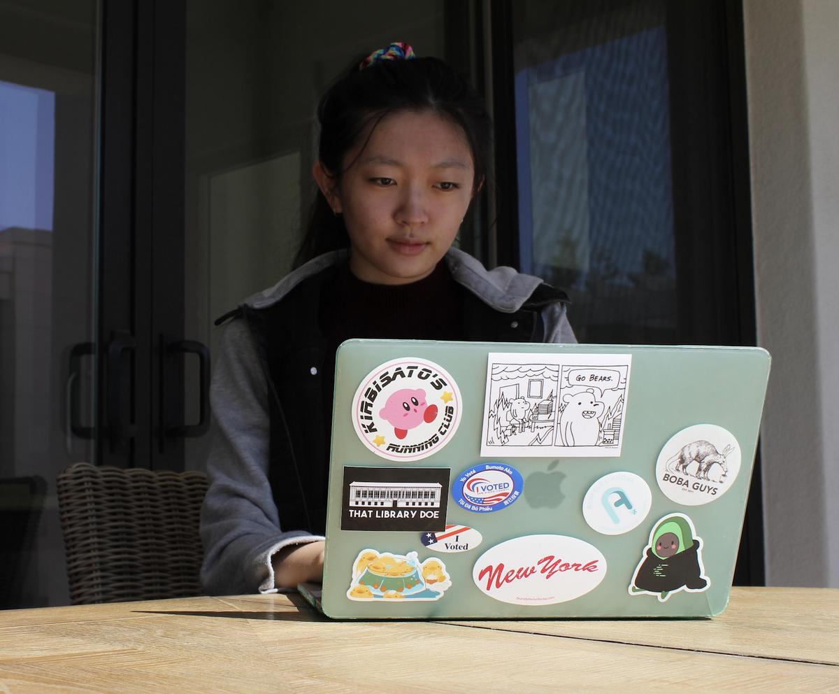 Photo of student Davina Dou at her laptop