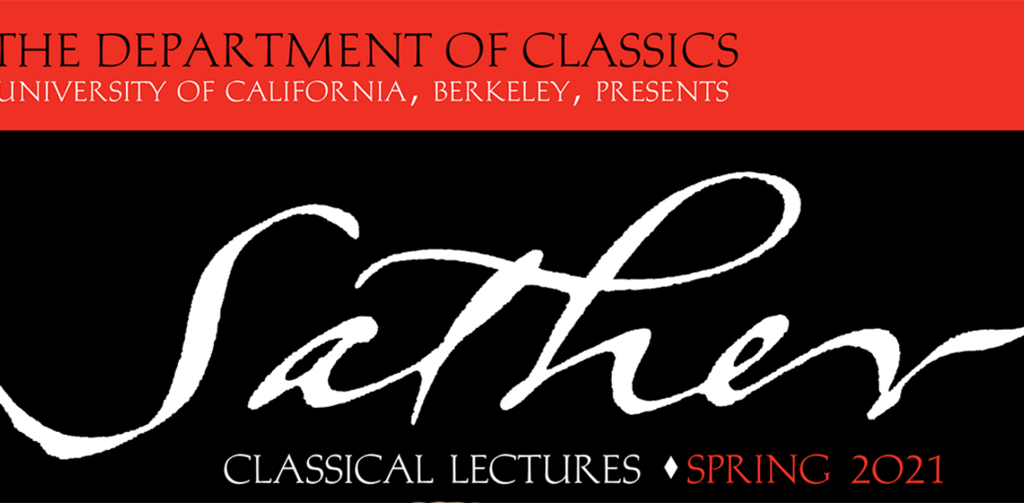 "Sather lecture series logo (""Sather Classical Lectures"" in white letters on black background)"