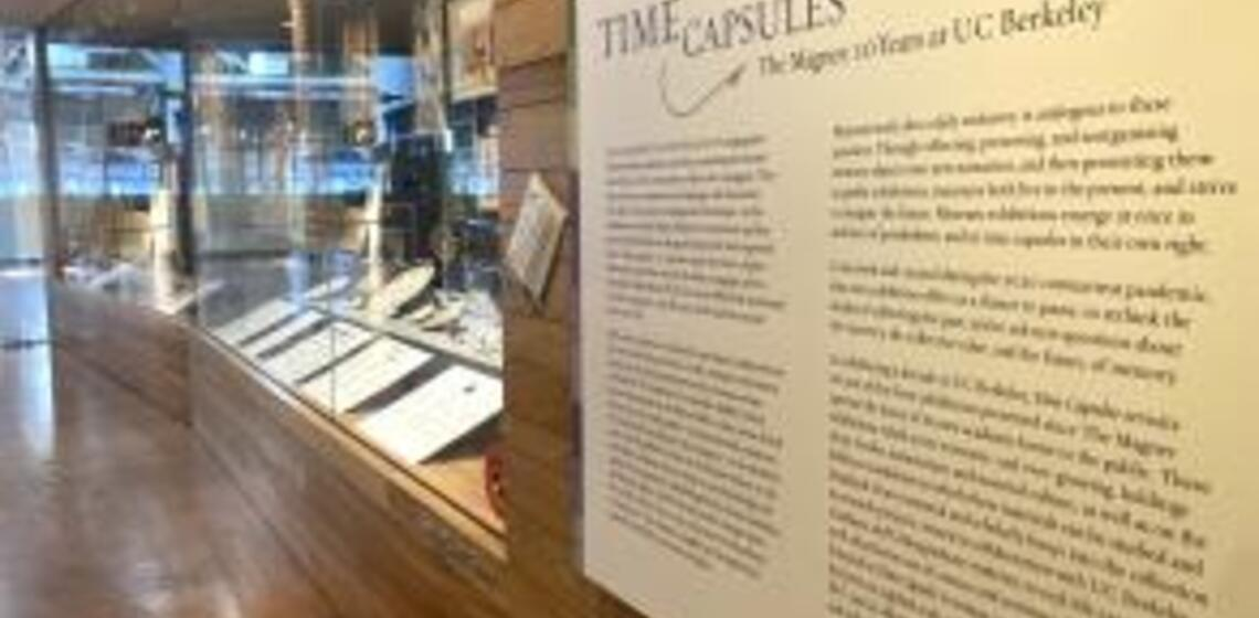 A photograph of the Time Capsules Exhibit on view at the Magnes Collection