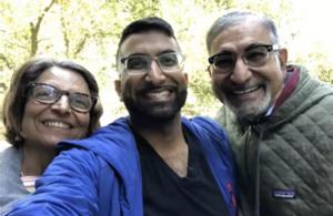 Sam and his parents Saroj and Bharat Dubal