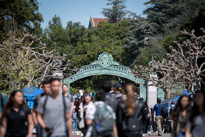 Sather Gate with students in foreground